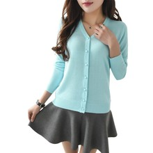 Women Candy Color V-neck Cardigan Long Sleeve Slim Knit Knitwear Casual Crochet Sweater Knitted Cardigan Sweater Tops