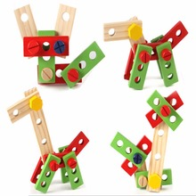 Baby Kids Maintenance Box Wooden Toy Wooden Multifunctional Tool Toy Set Nut Combination Chirstmas Birthday Gift 1 Set(China)