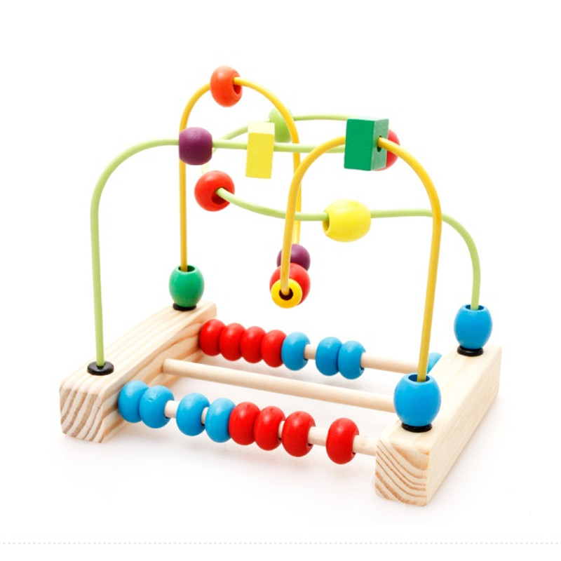 Kids Classic Soft Montessori Wooden Bead Maze Toy Set with colorful beads early educational toy high quality gift<br>