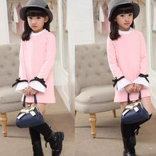 4-14 Year Girls Spring Autumn Clothes Sweet Cotton Kids Dresses for Girls 2017 New Long Sleeve Childrens T-shirts Dress Clothing