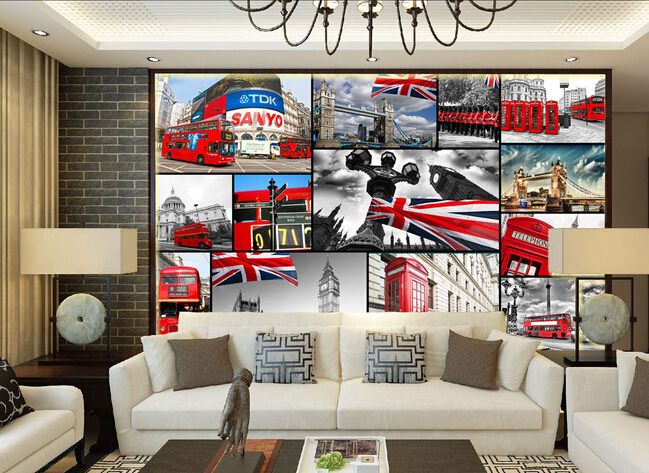 Custom 3D large  murals, retro London red telephone box , living room sofa TV wall bedroom background wall paper<br>