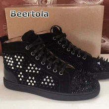 Beertola Top Brand Shoes With Rivet Spikes Studded Mens Sneakers  Rhinestones Fashion Shoes Mens Casual Shoes Hot Sale High Tops 779921b6c4df