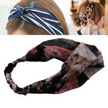 Turban Headband Haimeikang Hair Accessories New Women's Headband Striped Print Wide Bandanas Elastic Headdresses for Women(China)