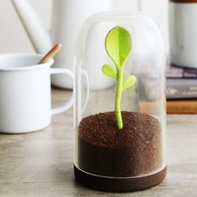 Free Shipping 1Piece Sprout Jar Salt Shaker Tea Spice Leaves Coffee Sugar Storage Container with Spoon HK053(China)