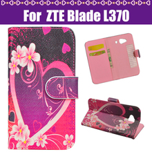 J&R Cover For ZTE Blade L370 Moblie Case Cartoon Painted PU Stand Flip Leather Cover Case For ZTE Blade L370 Phone Case