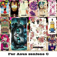 Soft Silicon TPU Or Plastic Mobile Phone Skin Cases For Asus ZenfoneC ZC451CG Z007 Zenfone C 4.5'' Cases 18 Paint Back Covers