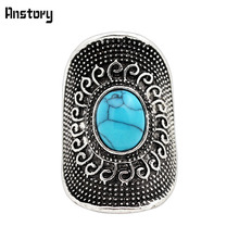 Flower Design Oval Blue Stone  Bead Rings Vintage Look Tibetan Alloy Antique Silver Plated Fashion Jewelry TR472