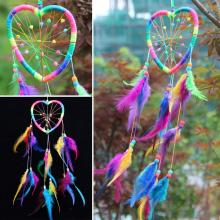 Handmade Rainbow Dream Catcher Dreamcatcher Peach Heart Car Door Wall Hanging Home Decoration(China)