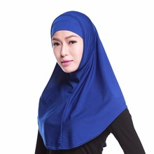 Woman Muslim Hijab Islamic Solid Scarf Soft Stretch Crystal Hemp 2 Pieces Hijab with Undercap Ready to Wear(China)