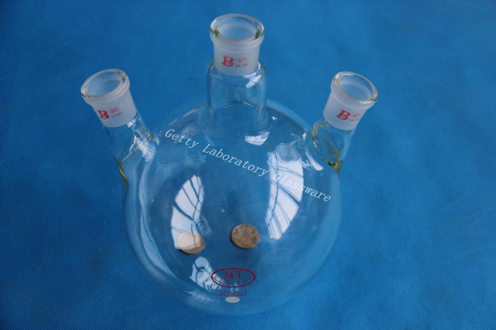 2000mL 3-neck Round bottom flask , 2L three neck, 24/29 joint,heavy wall (Borosilicate glass 3.3 material)<br>