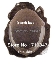 swiss lace / French laceh  with skin (Pu)  side and back,  Q6 base stock hair men toupee ,hair system , replaceme  free shipping