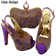 Hot Artist Fashion Rhinestone Woman Shoe And Matching Bag Set Italy Style Pumps Shoes And Bag Set For Party Free Shipping BCH-29(China)