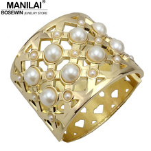 MANILAI New Fashion Gold Color Simulated Pearl Bracelets & Bangles Women Accessories Cuff Bangle Manchette Statement Jewelry Gif