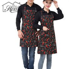 Funny Adjustable Apron Black & Red Pepper Pattern Halter Bib Chili Polyester Apron Avental de Cozinha Divertido Tablier Cuisine