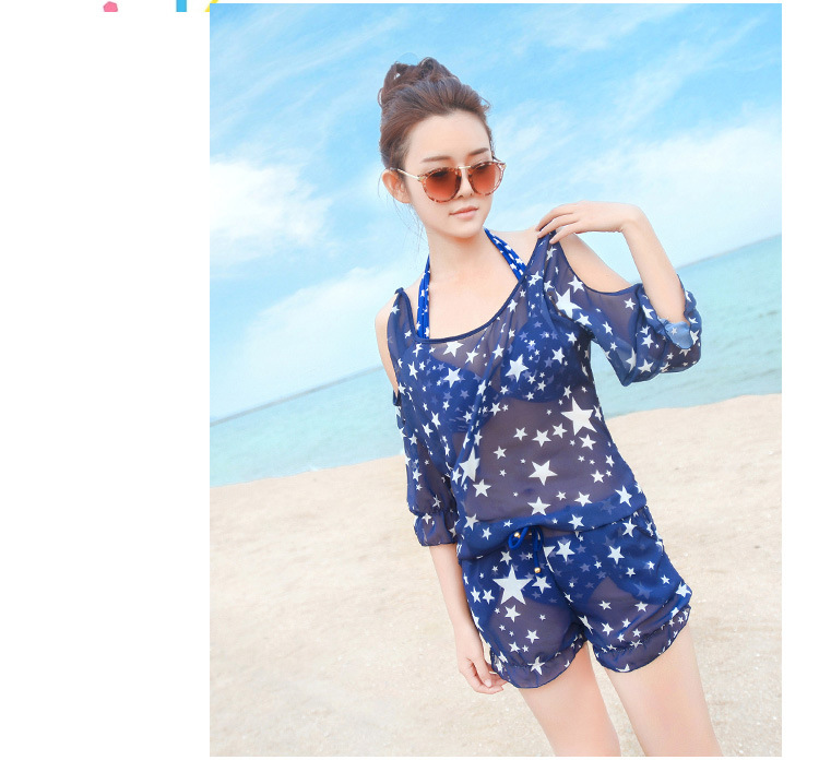 Summer Style Women Three Pieces Bikini Set Swimsuits Print Stars Navy Blue Halter Biquini Beach Wear Steel Bra Bikinis New DB230<br><br>Aliexpress