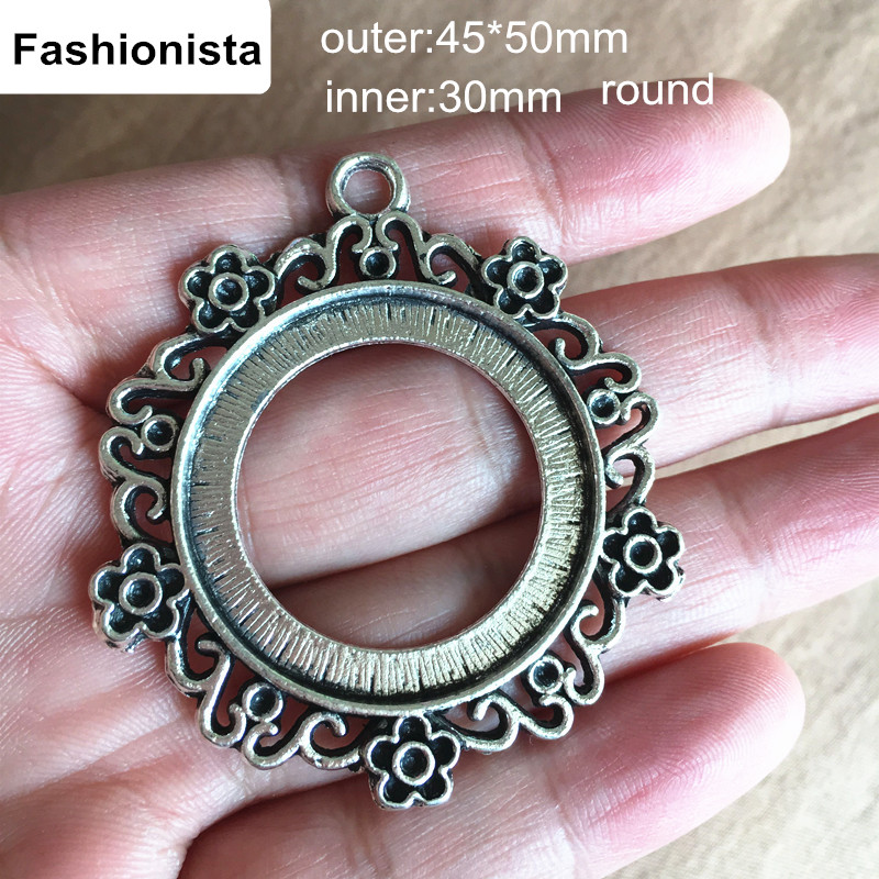 30 PCS Big Round Antique Silver Plated Metal Filigree Cabochon Base Settings Vintage Alloy Blank Pendant Tray Jewelry Supplies(China (Mainland))
