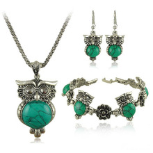 2017 Cheap Owl Stone Jewelry Sets party Women tibetan silver Color Chain Vintage Retro Stone Jewellery Set gift(China)