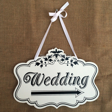 Free Shipping Wooden Wedding Signs Wedding Photo Props Ceremony Decors Wedding Wood Hanging Directional Signs Arrow with Ribbon