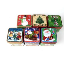 12pcs/set Christmas Style Square Tin Box Biscuit Candy Case Xmas Gift Cookie Storage Box New Year Decoration ZA5073(China)
