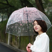 Fashion Transparent Clear Cherry Blossom Mushroom Apollo Princess Women Rain Umbrella Sakura Long Handle Umbrellas