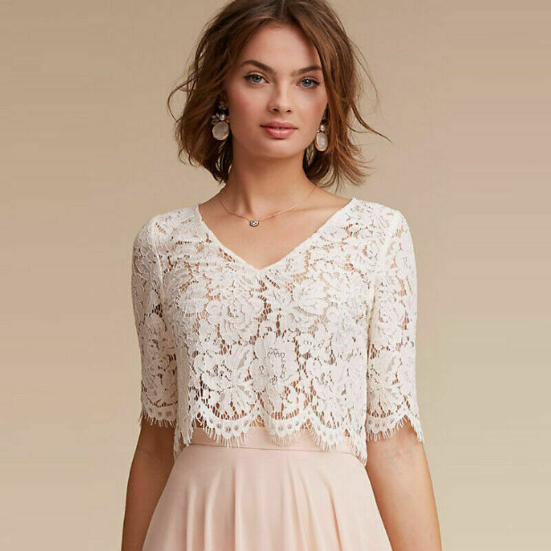 2019 V-Neck Bridal Jackets Half Sleeve Wedding Boleros Women Wraps White Ivory Lace Appliques Custom Made Shawl Jacket New