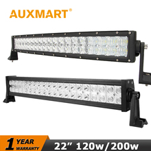 Auxmart 22 inch 120W Straight LED Light Bar 200w Curved LED Bar CREE Chips Driving Lights Fit Truck 4x4 ATV Combo Beam 12V 24V