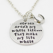 "2015 new arrive""Horses aren't my whole life...They make my life whole""Necklace Equestrian Horses Back Riding Barrel Racing Love"