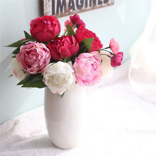 27.5cm Artificial Fake Flowers Peony Bouquet Floral Wedding Bouquet Party Home Living Room Garden Decor 2017 New Fashion