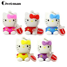 Civetman genuine special silicone cartoon hello kitty cat usb flash drive 8gb cute girls 16gb pen drive 64GB gift with chain