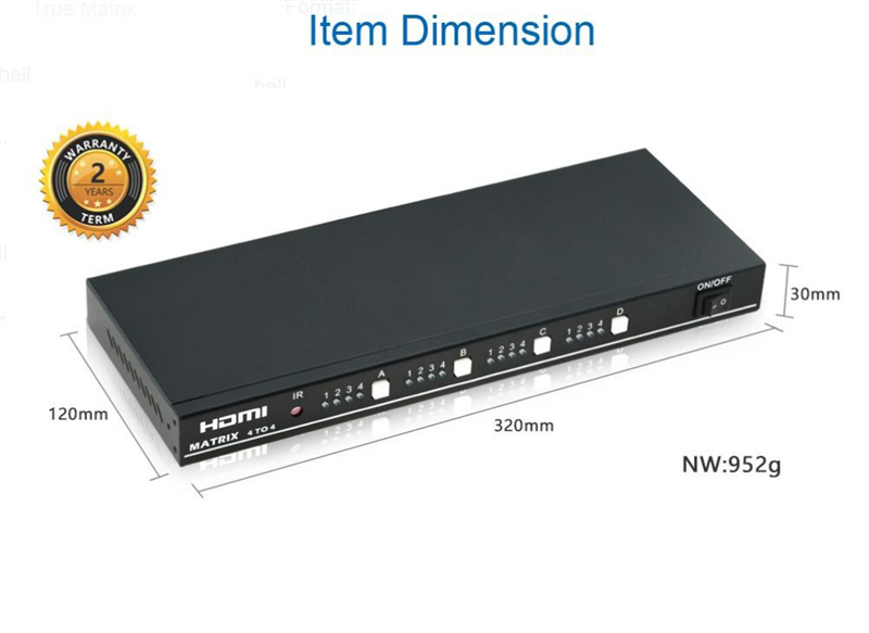 EMK 4x4 HDMI True Matrix 4 input 4 output HDMI Switch Splitter 1.3b support 1920x1080 60Hz with RS232 Remote Control Switch (7)