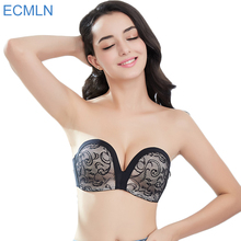 Women's Slightly Lined Lift Great Support Lace Strapless Bra women backless push up plunge intimates underwear(China)