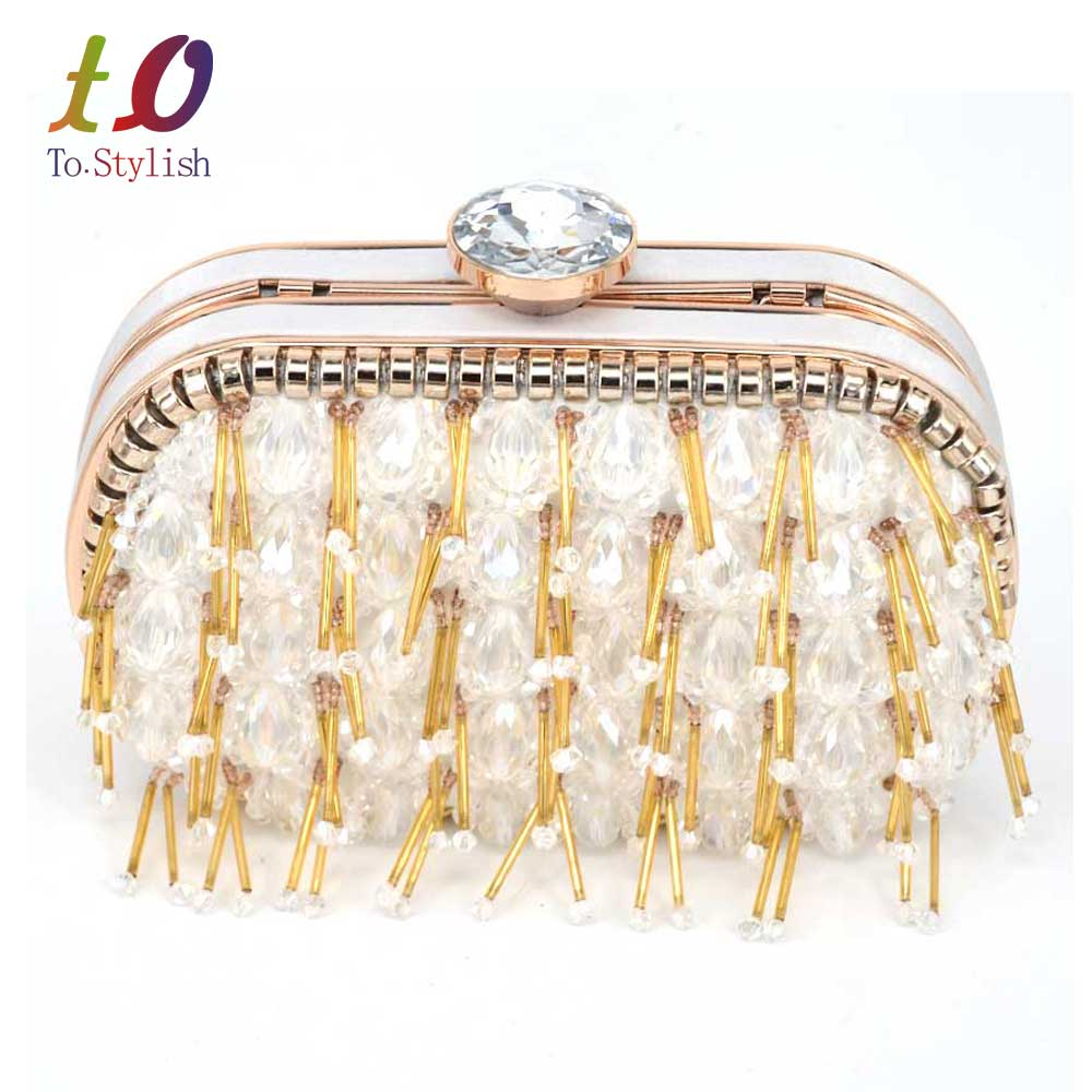 Luxury Beading women evening bags pearl beaded wedding handbags clutch purse for wedding day clutches purse evening bags SA44<br>