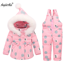 Angela&Alex Baby Girls Clothes Sets Children Winter Coat Kids Snowsuit Warm Baby Boy Ski Suit Outerwear Coat+Overalls