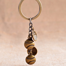 Cool Luxury metal Baseball Keychain Car Key Chain Key Ring Sports Baseball chain pendant For For Men Women Love sport Gift 17398(China)