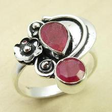 Rubys 2 Gemset Ring,  Silver Overlay DEAL OF THE DAY Jewelry Size US 8.75 NEW