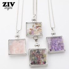 New Natural Fluorite Crystal Stone Beads Chip Clear Glass Square Wish Box Wishing Bottle Charms Pendant Necklace Jewelry