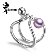 MINTHA Pearl Adjustable Rings White Freshwater Pearl Solid 925 Sterling Silver Ring For Women Fine Jewelry S925 punk rings(China)
