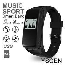 F50 Sports Bracelet Heart Rate Monitor Smart Band support Micro SD Card MP3 player Earphone wristband For Android IOS phone