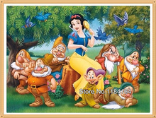 Free shipping diy cross stitch diamond painting embroidery Snow White and the seven dwarfs mosaic pictures of rhinestones BK-582(China)