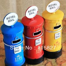 Min order$20(mixed items) ENGLAND Style ROYAL MAIL iron Money Saving Box POSTBOX coin saver house or shop decoration