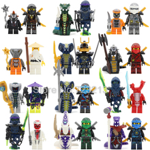 24pcs/lot Ninja Pythor KAI JAY COLE ZANE Lloyd Sensei Wu NYA Figure Set Snake Building Blocks Toys