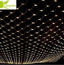 Kingoffer 1.5mx1.5m 96 Leds AC220V 110V LED Net Mesh Fairy String Lights for Christmas Party Wedding Indoor Outdoor Decoration