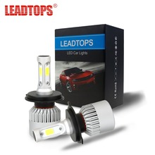 LEADTOPS 2Pcs 9003 H4 LED H7 H11 H1 H3 H8 H9 9005 9006 Car Headlight Bulb COB Auto 72W Automobiles Lamp White 6500K 12V DJ(China)