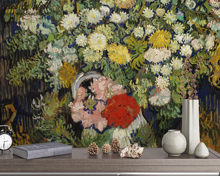 A bouquet of flowers in a van gogh bottle mural photo home accessories decoration living room decoration STDM30593 15