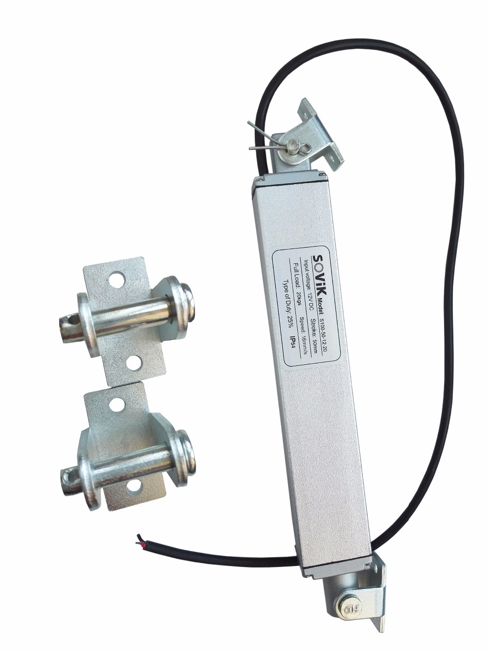 SOVik 2 inch 50mm Stroke Micro Linear Actuator 12V 24V DC In-line Designed with Mounting Brackets 200N 44lbs Max Lift<br>