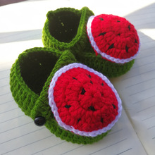 Baby first step Baby Girl Crochet Slippers watermelon design Baby Girl Shoes Photo PropGift Handmade(China)