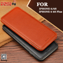 Real Genuine Leather Case For apple iphone 6 6s Plus Cell Phone Magnet Card Stand Flip Cover Mobile Phone Cases(China)