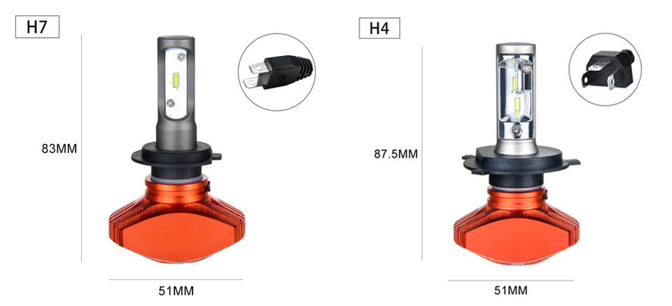 Zdatt AcooSun H4 H7 Led Car Bulb H11 H1 CSP LED Auto Headlight 80W 8000LMSet 9005HB3 9006HB4 H3K Led Fog Light White 6000K 12V 24V (9)