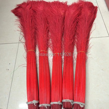 EMS free shipping 100pcs/lot, length 70-80cm dyed red peacock feathers natural peacock feather penas