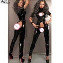 Buy S-XXL NEW! Women Sexy Black Faux Leather Bodysuit Open Crotch Erotic Latex Catsuit Bodycon Fetish Jumpsuit PVC Bodysuit Costume